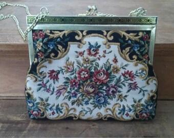 BOHEMIAN, vintage purse, black purse, vintage wallet, vintage handbag, black purse, embroidered purse, shabby chic, old purse
