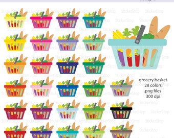 Grocery Basket Clipart, PNG Digital Clipart - Instant download - Grocery bag, shop, basket, groceries, errands, icon