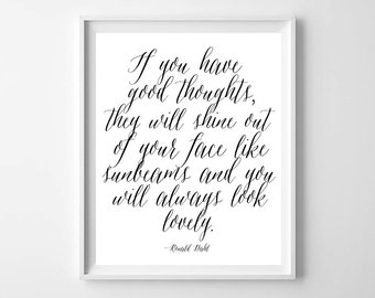 Roald Dahl Matilda Quote Art Print-Modern Printable by paper and palette