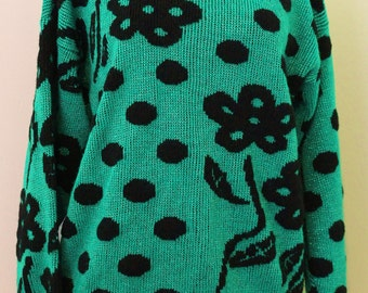 Green and Black Polka Dot Sweater