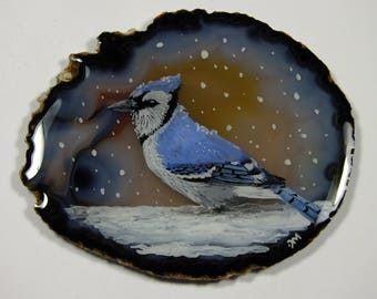Blue Jay in the Snow Painting on Agate