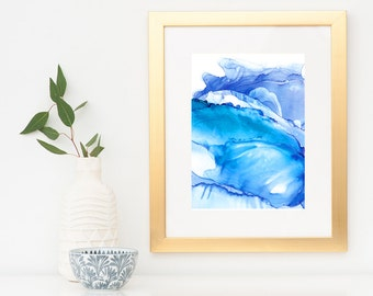 Storm Swell Indigo Ink: Art Print, Ocean art, Blue OCean Art, Seascape Painting, Seascape Art Prints