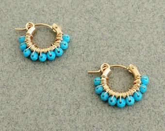 Gipsy Earrings, Wire Wrapped Hoops, Swarovski Turquoise Earrings, Gold And Turquoise Earrings, Small Hoop Earring Gold, Christmas Gift