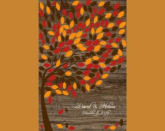 Large Fall Wedding Signature Tree. Personalized Wedding Tree, Guest Book Alternative, Rustic Wedding Tree 200 Leaves