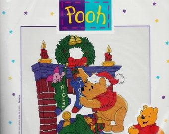 Santa Pooh, counted cross stitch kit, UNOPENED cross stitch kit, home decor, Christmas decor, gift, needle work kit, nursery decor