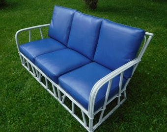Vintage painted bamboo sofa and chair
