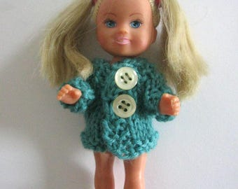 sweater for doll 11 cm  4,3 inch nutka_art handmade doll clothes knit  sweater Kelly Shelly Evi  small tiny sister  Barbie