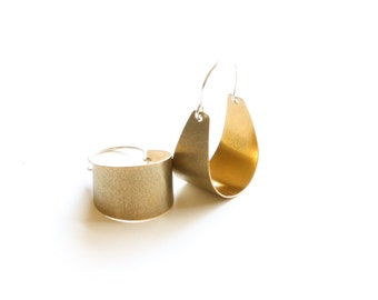 "Small brass earrings lightweight and comfortable to wear, modern design with a textured surface - ""Small Brass Scoop Earrings"""