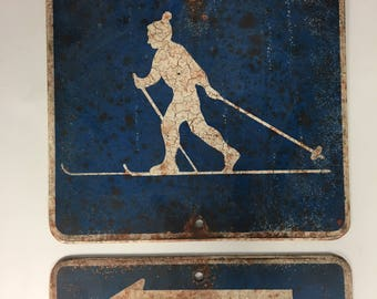 CROSS COUNTRY SKIER Vintage Faux Tin Cabin Sign Skiing
