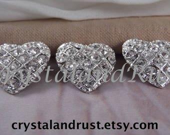 3pc. Beautiful Heart Small Brooches --- Silver Tone --- BR011-3