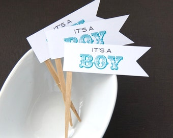 It's A Boy DIY Cupcake Topper Kit, Flag Cupcake Toppers, Baby Shower Toppers, Party Picks or Skewers