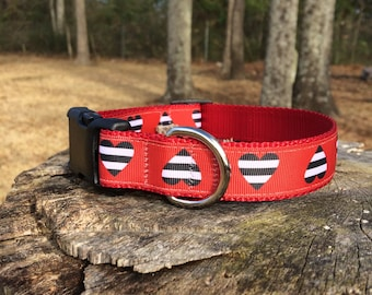 Hearts, Red and Black, Dog Collar