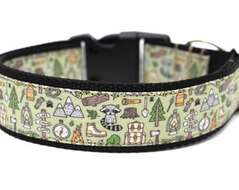 "Boy Dog Collar 3/4"", 1"" or 1.5"" Camping Dog Collar"