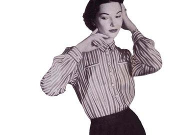 50s Button Down Shirt pattern Blouse pattern vintage pattern 32-26-35 XS Long Sleeve Shirt pattern Womens Day 5002