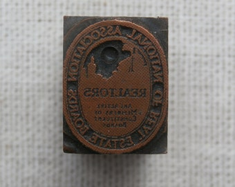 Vintage National Association Real Estate Boards Printers Block Letterpress Metal on Wood