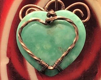 Pale Turquoise Heart Pendant in Copper Wire