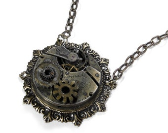 Steampunk Necklace Vintage INDUSTRIAL GRUNGE Pocket Watch UNIQUE Gears Nihilist Mens Womens Steam Punk Holiday Gift - Jewelry by edmdesigns