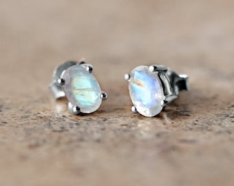 Tiny Moonstone Stud Earrings - Sterling Silver