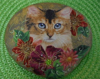 Calico Cat Kitten Feline Painted Decoupage Rock Art Flowers Collectable Gift