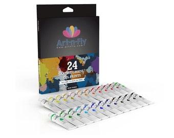 Oil Paint Set 24 Colors Professional Artist Grade Pigment Rich Art Painting Kit