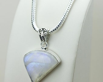 1.80 Inch Rainbow MOONSTONE 925 S0LID Sterling Silver Pendant + 4MM Snake Chain & Free Express Shipping p3106