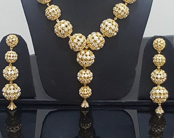 American diamond Stunning Big size CZ balls gold plated necklace set