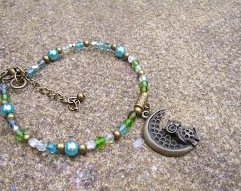 Green Glass Beaded Owl Anklet. Owl Anklet. Owl Lover's Jewellery. Boho Anklet. Charm Anklet . Charm Ankle Bracelet. Festival Ankle Bracelet.