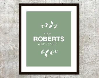 Custom Family Name Art Print - Family Sign - Personalized Wedding Poster - Vine Leaves - Sage Green