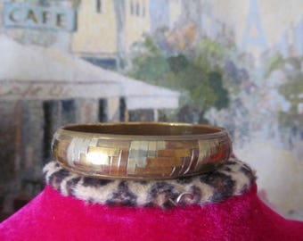 Vintage Mixed Metals Woven Bangle Bracelet, Copper, Brass, Silver Tone