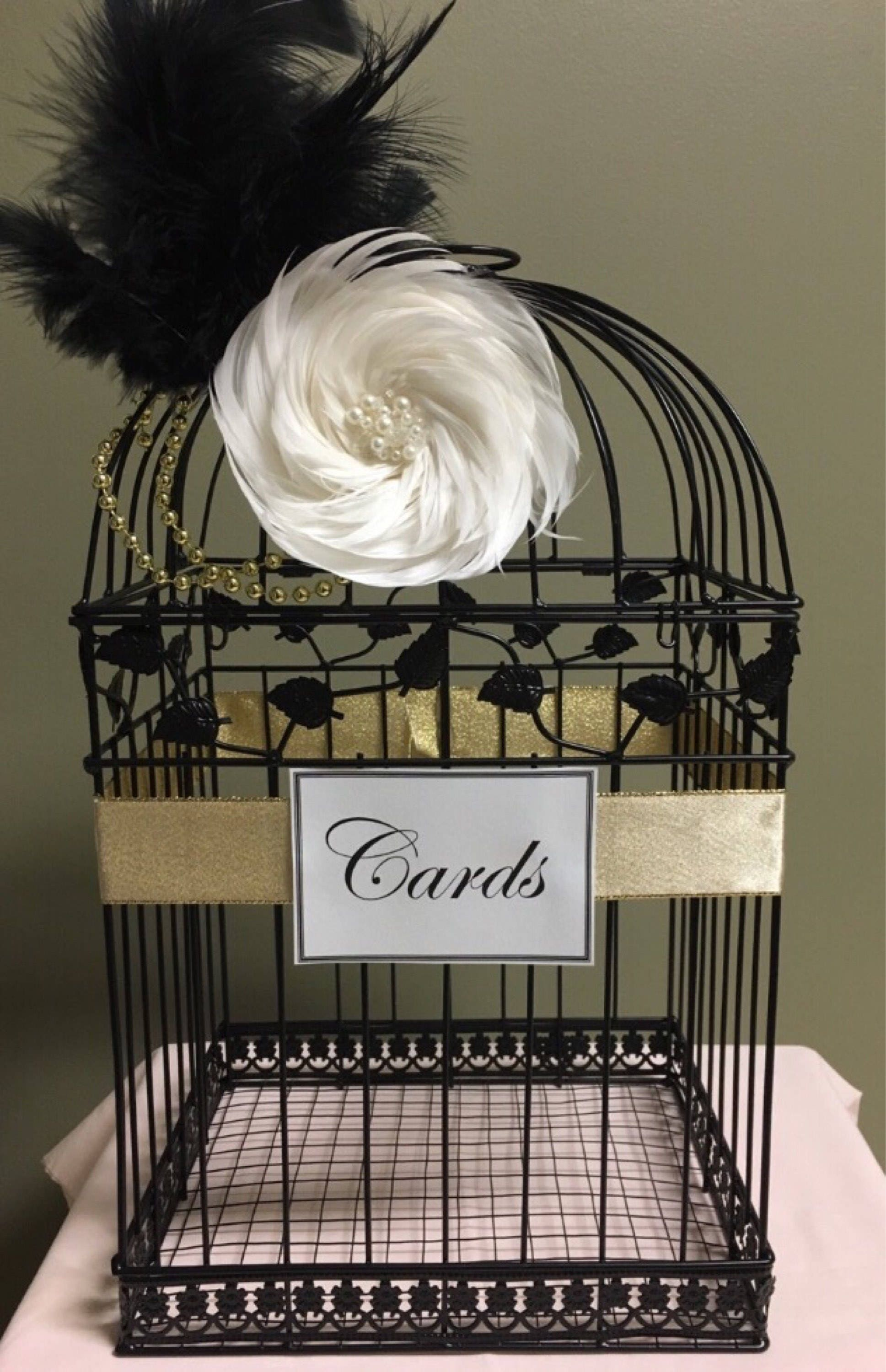 Great Gatsby Wedding Birdcage Black Bird Cage Card Holder