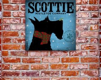 Scottie mistletoe company  illustration graphic art on canvas  by stephen fowler