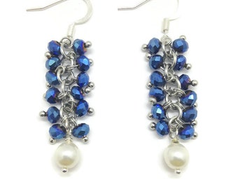 Blue Cluster Earrings, Crystal Earrings, Blue Dangle Earrings, Dark Blue Earrings, Metallic Blue Earrings,Gifts For Her