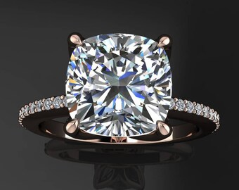charlize ring - 2 carat cushion cut NEO moissanite wedding set, platinum wedding set