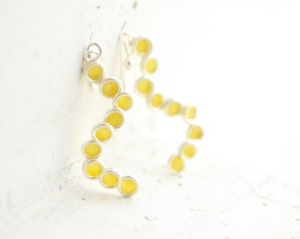 Ready to Ship, Sunshine Yellow Bubble Dangle Drop Earrings Sterling Silver, 1st Anniversary Gift Paper Jewelry Circle Earrings Best Friend