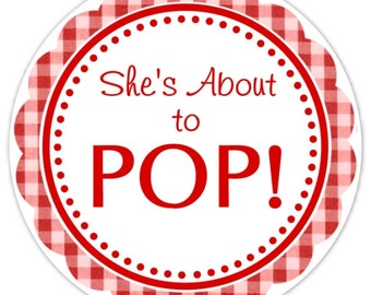 Baby Shower About to Pop labels, Red Gingham Baby Shower Labels, About to Pop Stickers
