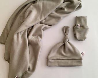 Woodland Forest Collection Lux Swaddling Baby Blanket, Hat, Mitt Set / Swaddler / Newborn Gift Set  / Sweater Blanket , Haze colour