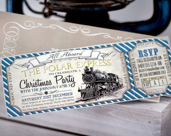 Polar Express CHRISTMAS Party Invitation - INSTANT DOWNLOAD - partially Editable & Printable Christmas Train Ticket Invitation