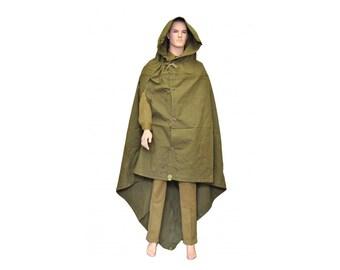 Genuine Soviet and Russian Army rain cape Olive Green Army poncho plash palatka