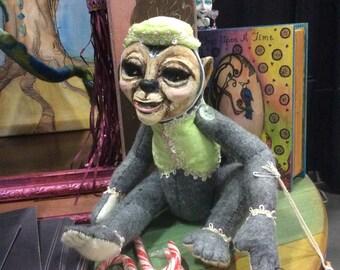 Milton the heavy bottom monkey OOAK art doll