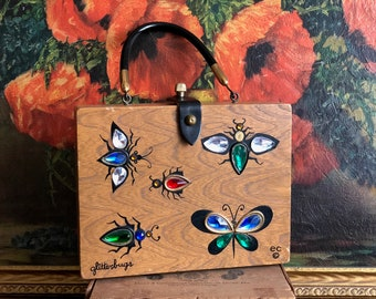 Enid Collins Purse Glitter Bugs Wooden Box Handbag Vintage Made in USA Butterfly Bug