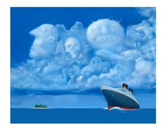 Some Clouds 8x10 Fine Art Print, Pop Culture Art, Cruise Ship, Fantasy Travel