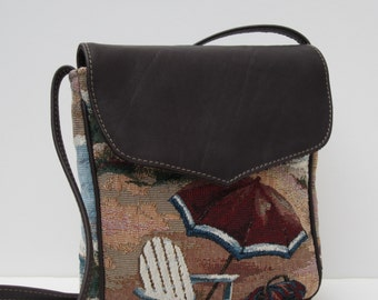 SMALL MESSENGER BAG by Elizabeth Z Mow  Beach Themed with Leather