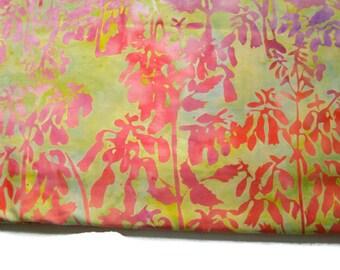 Floral Batik Fabric, Watercolor Garden Fabric, Fuschia Flowers