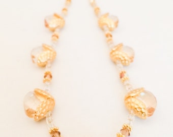 Gold Crystal Necklace - Gold Glass Necklace - Swarovski Crystal Necklace - Sparkly Gold Necklace - Gold Swarovski Necklace - Gold Necklace