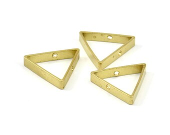 Brass Triangle Charm, 12 Raw Brass Triangles with 2 Holes (17x3x0.80mm) BS 1744
