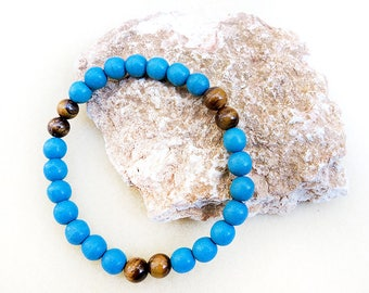 Turquoise, Men's Bracelet, Tiger Eye, Stone, Mala, Blue, Stretch, Zen, Yoga, Meditation, Handmade, Man Jewelry, Gift for Man, Gift for Him