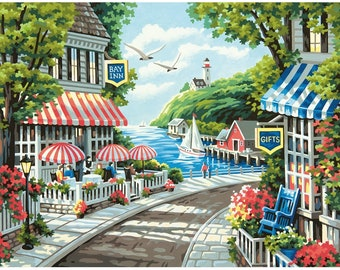 Paint by Number Kit, Cafe by The Sea