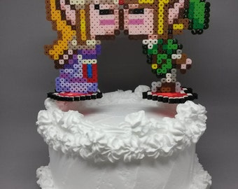 Link and Zelda Kissing Cake Toppers - Gamer Wedding Decorations 6 inch