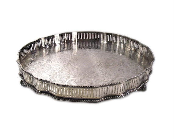 Vintage Silver Plated Tray with Galleried Sides and Lion Feet