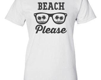 Beach Please Custom Women's Ultra Cotton Gildan Fashion T-Shirt-White